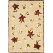 French Tapis Linen/Olive Floral Area Rug