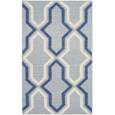 Dhurries Blue Contemporary Area Rug