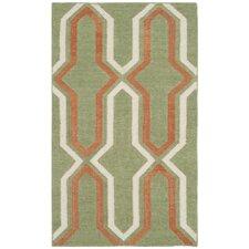 Dhurries Green / Orange Contemporary Area Rug