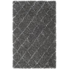 Moroccan Shag Grey & Ivory Geometric Contemporary Rug