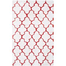 Barcelona White/Red Area Rug