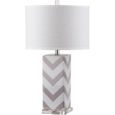 """Chevron Stripe 27"""" H Table Lamp with Drum Shade"""