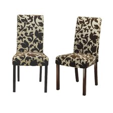 Parsons Side Chair in Crème and Brown (Set of 2)