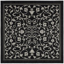 Courtyard Black & Sand Outdoor Area Rug