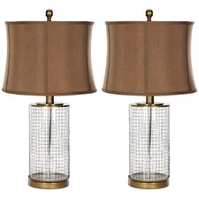 "Cage 26.5"" H Table Lamp with Oval Shade (Set of 2)"