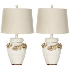 """Ceramic 24"""" H Table Lamp with Empire Shade (Set of 2)"""