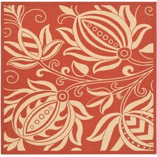 Courtyard Red & Natural Area Rug