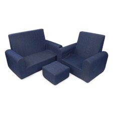 Kids Sofa, Chair and Ottoman Set