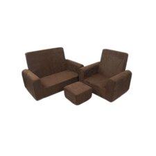 3 Piece Kids Micro Sofa Chair and Ottoman Set
