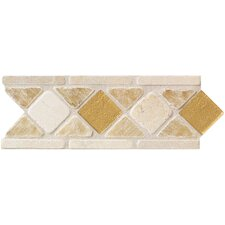 "Artistic Accent Statements 10"" x 3-1/2"" Diamond Decorative Border in Onyx/Glass"