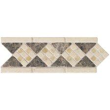 "Artistic Accent Statements 10"" x 3-1/2"" Diamond Mosaic Decorative Border in Emperador/Onyx"
