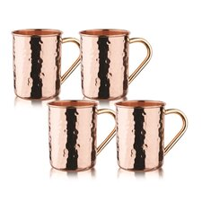 Hammered Solid Straight Sided Moscow Mule Mug (Set of 4)