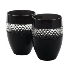 Black Cut Glass (Set of 2)
