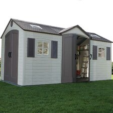 Dual Entry 8 Ft. W x 15 Ft. D Steel and Plastic Garden Shed