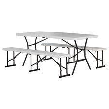 3 Piece Polyethylene Picnic Table and Bench Set