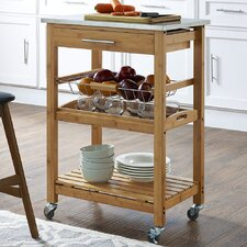 Aya Kitchen Cart with Stainless Steel Top