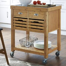 Kenta Kitchen Cart with Stainless Steel Top