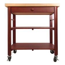 Roll About Kitchen Cart with Wood Top