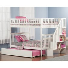 Woodland Full Over Full Bunk Bed with Trundle and Stairs