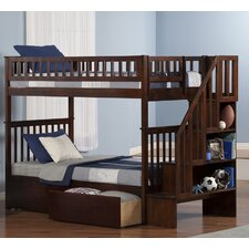 Woodland Twin Over Twin Bunk Bed with 2 Urban Lifestyle Bed Drawers and Staircase