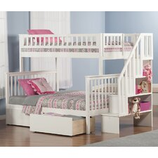 Woodland Twin Over Full Bunk Bed with 2 Urban Lifestyle Bed Drawers and Staircase