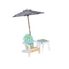 Winland Palm Tree Outdoor Wood Table & Chair Set in White