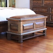 Golden Antique Wood Storage Bedroom Bench