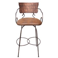 "Hand Forged 24"" Swivel Bar Stool with Cushion"