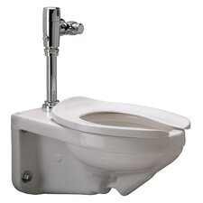 Wall Mounted 1.28 GPF Elongated 1 Piece Toilet with Exposed Battery Flush Valve Product Photo