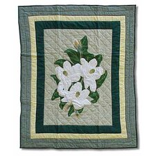 Magnolia Blossoms Cotton Throw Quilt