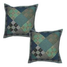 Chambray 9 Patch Cotton Throw Pillow (Set of 2)