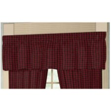 """Red and Black Plaid White Lines 54"""" Curtain Valance"""