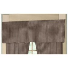 """Brown and White Plaid 54"""" Curtain Valance"""