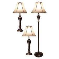 3 Piece Table Lamp and Club Floor Lamp Set with Bell Shade