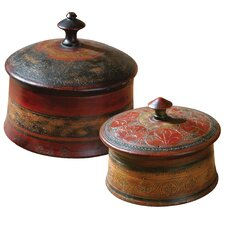 Sherpa Round Decorative Boxes (Set of 2)