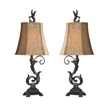 "Caperana Buffet 24"" H Table Lamp with Bell Shade (Set of 2)"