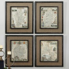 Countryside Maps 4 Piece Framed Graphic Art Set