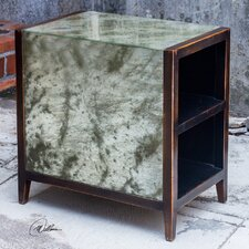 Tierney Antique End Table and Mirror Set