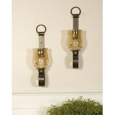 Joselyn Iron and Glass Small Wall Sconces (Set of 2)