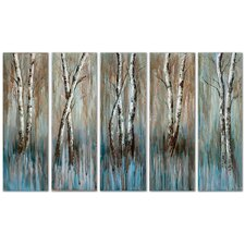 Birch Family 5 Piece Original Painting on Canvas Set