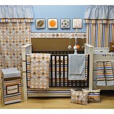 Mod Sports 10 Piece Crib Bedding Set in Blue / Orange / Chocolate