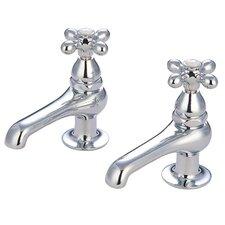 Widespread Bathroom Faucet with Metal Cross Handle