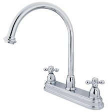 Double Handle Centerset Kitchen Faucet with Metal Cross Handles