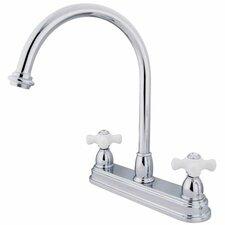 Double Handle Centerset Kitchen Faucet with Porcelain Cross Handles