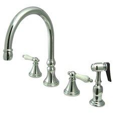 Deck Mount Double Handle Widespread Kitchen Faucet with Porcelain Lever Handle