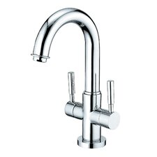 South Beach Double Handle Bathroom Faucet with Push-Up Pop-Up and Plate
