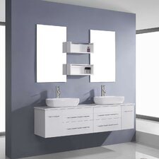 "Augustine 60"" Floating Double Bathroom Vanity Set with Mirror"