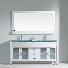"""Ava 63"""" Double Bathroom Vanity Set with Mirror"""