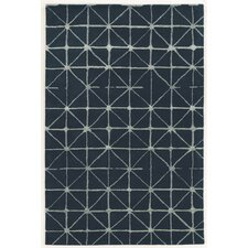 Aspire Triangle Hand-Tufted Navy/Cream Area Rug