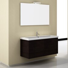 "Space 47"" Single Wall Mount Bathroom Vanity Set with Mirror"